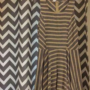 Navy white striped dress L
